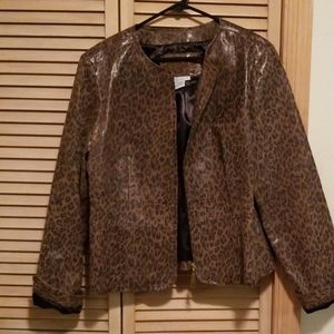 Preowned Live a Little animal print leather jacket